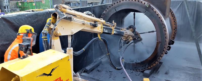 Hydrodemolition refractory verwijderen
